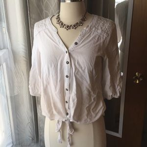 Front Tie Button Down Blouse